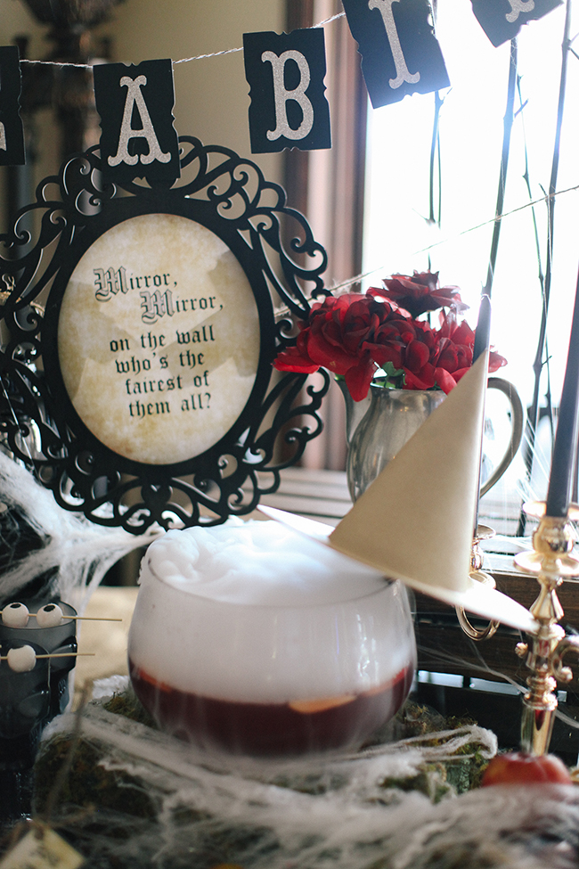 """ Mirror Mirror on the Wall, whose the fairest of them ALL?"" is the perfect craft to make for a show stopping centerpiece at an Evil Queen Party"