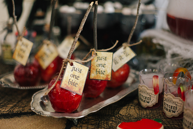 Candied Poisoned Apples were given an extra scary twist with actual twigs as the handles. The perfect thing to serve at an Evil Queen Party!