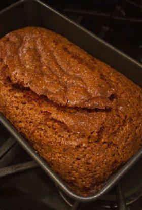 Pumpkin bread with sugar on top.