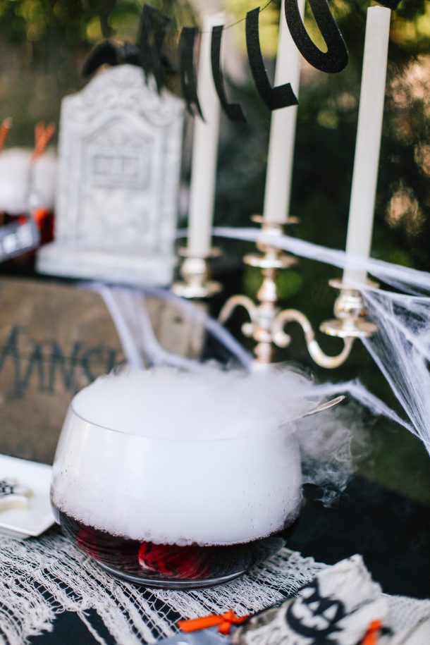 Dry ice is the coolest way to serve Halloween punch. Kids and adults are delighted by the extra creepy fog that surrounds the bowl!