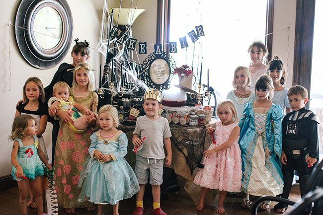 Little kids dressed as princesses, villians, and witches at this Evil Queen inspired party!
