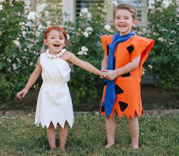 Yabba Dabba Doooo! The perfect thing to yell while wearing these cute DIY Flintstones costumes!