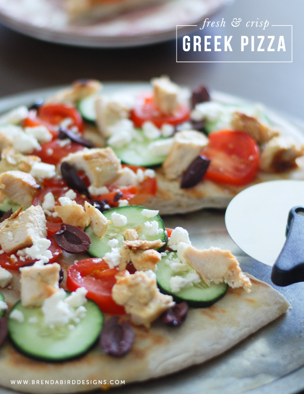 Greek inspired pizza puts a new twist on a traditional dish!