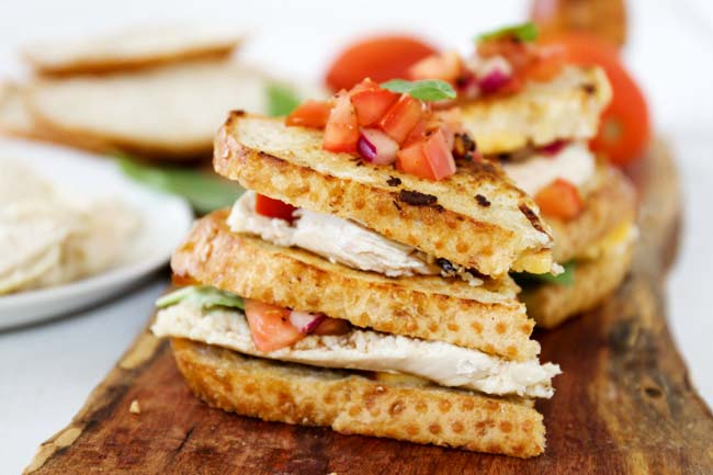 These sandwiches are insanely delicious! Grilled bruschetta with chicken is the perfect pairing!