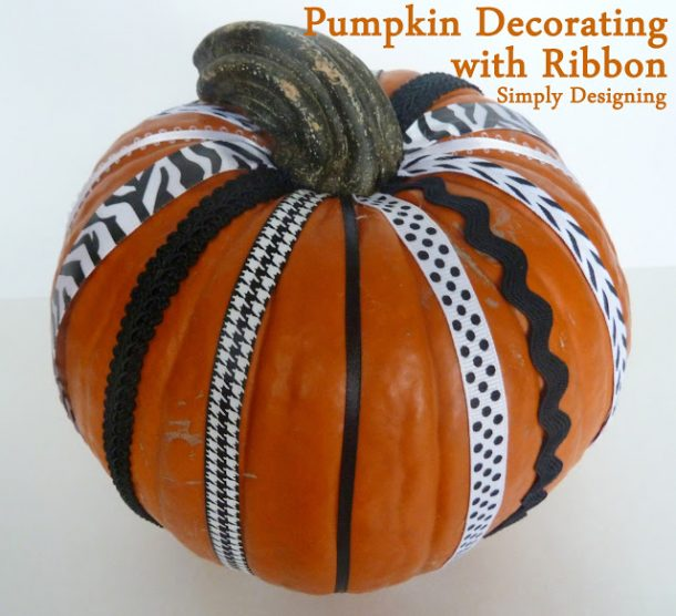 decorate a pumpkin with ribbon! So fun!
