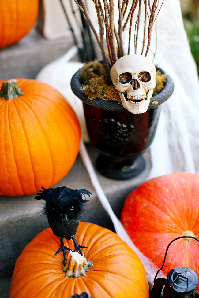 A few twigs and a black urn make a great Halloween decoration. Even better with a well-placed skull.