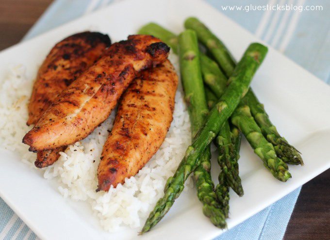 Simple Grilled chicken over rice and paired with a veggie is an American Classic!