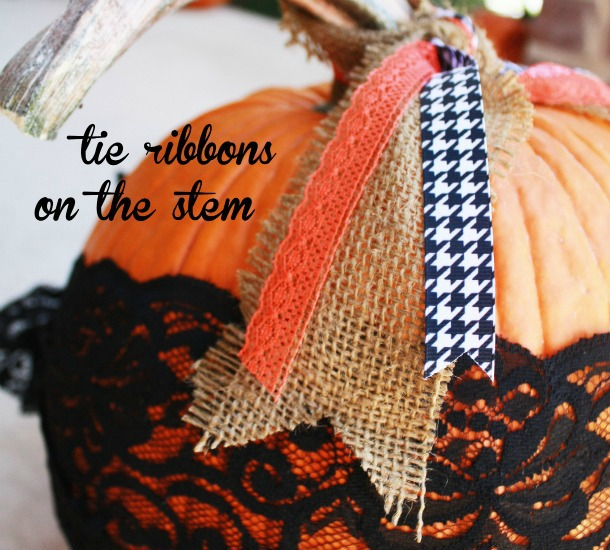Use ribbons, lace, and burlap for no carve pumpkin decorating