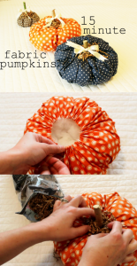 Make your fall decor extra adorable with fabric pumpkins. They only take 15 minutes to create with this easy DIY tutorial.