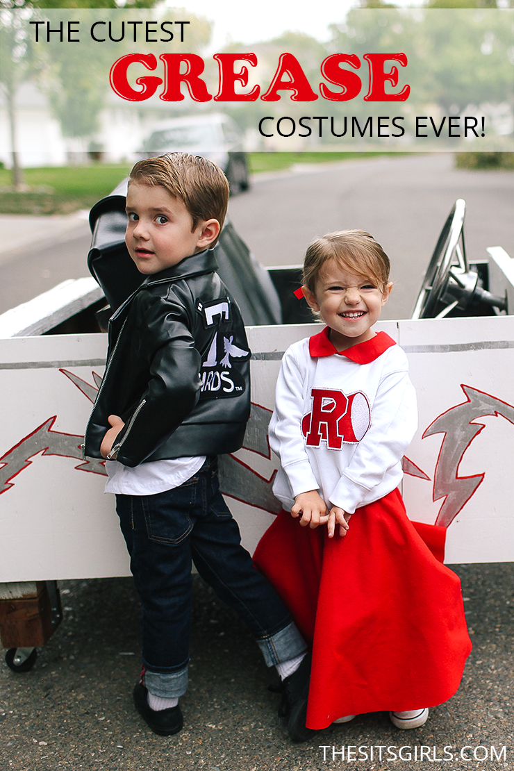 The cutest Sandy and Danny costumes from Grease. Plus, the Grease Lightning car for them to ride in - how great is that?! | Grease Costumes