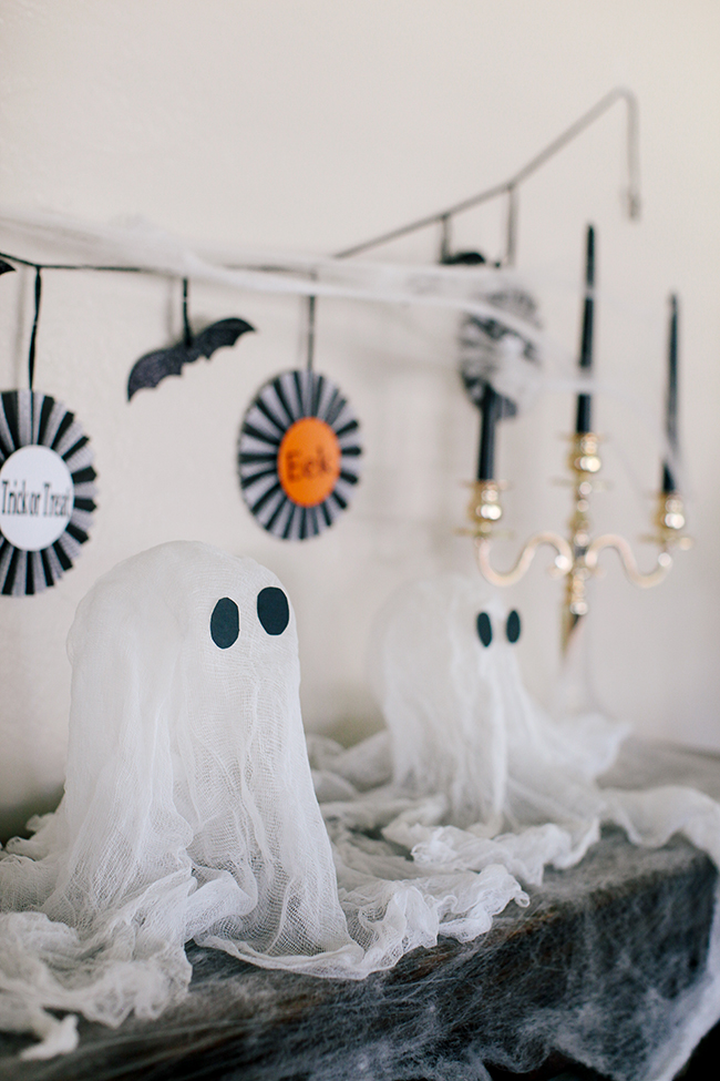 Cheesecloth ghosts are the perfect DIY for moms and kids!