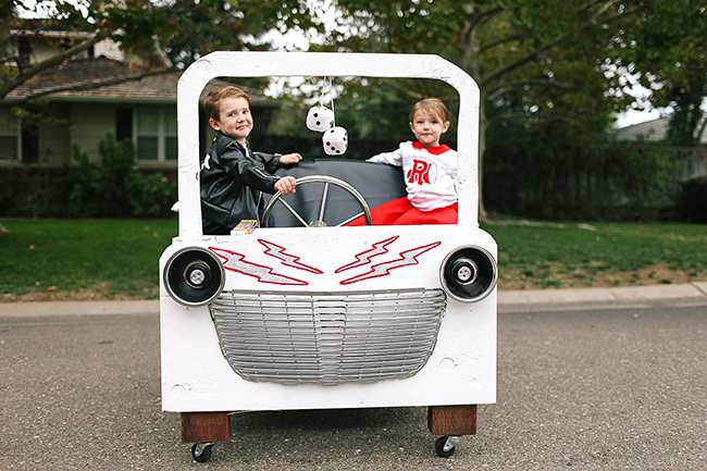 A car is a must when dressing as Grease Lightning for Halloween!