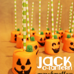 Jack-o-lantern marshmallow pops are a cute snack for Halloween
