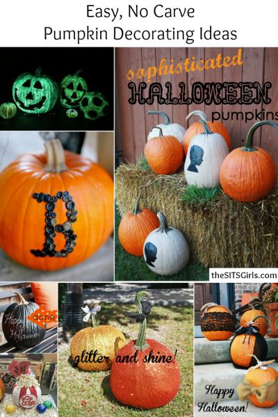 Easy, no carve pumpkin decorating ideas. These tutorials make Halloween decor easy and fun!