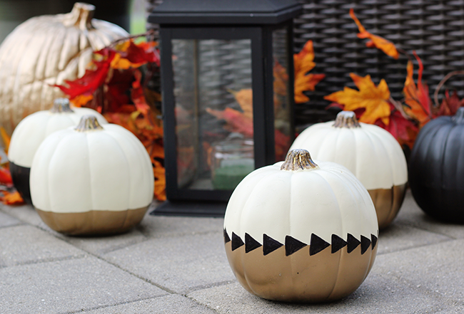 Black White And Gold Painted Pumpkins