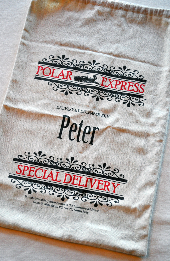 Personalized burlap sack - perfect for the Elf on the Shelf to use to deliver a Christmas Eve gift before he leaves for the year.