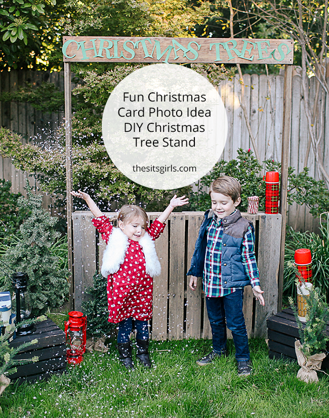 Christmas Card Photo Idea - Christmas Tree Stand | This would be easy to make, and is super cute for a Christmas card photo. Love the photo props, too.