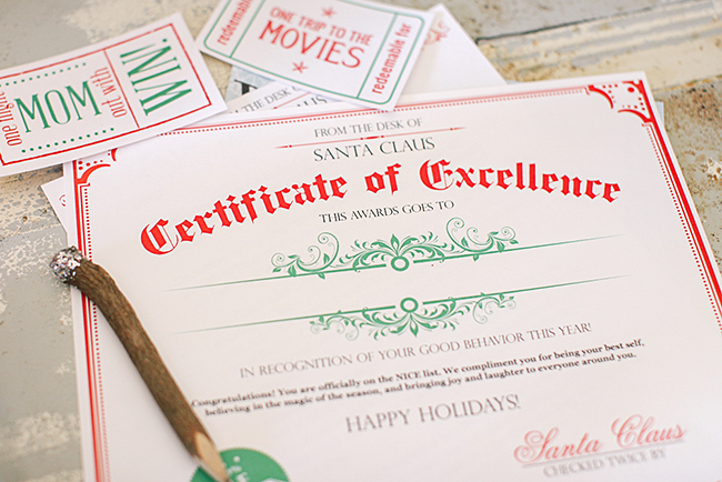 Certificate Of Excellence From Santa