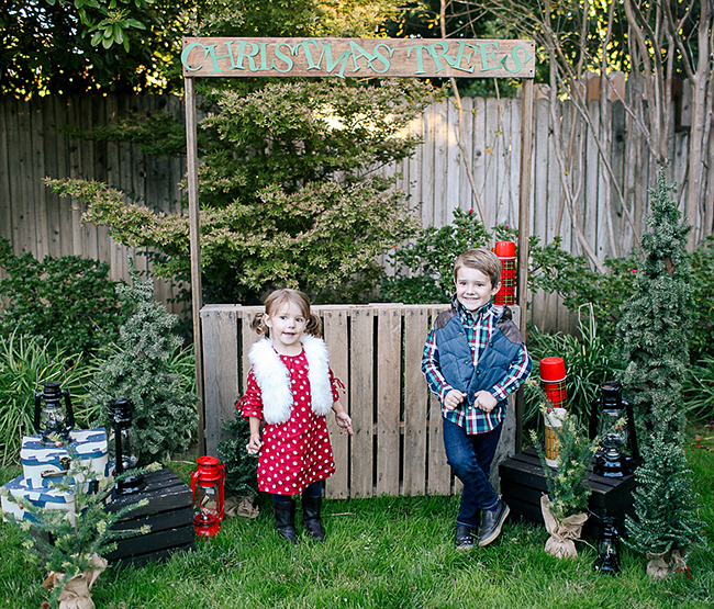 Use an old pallet to make a DIY Christmas Tree Stand for your Christmas photos.