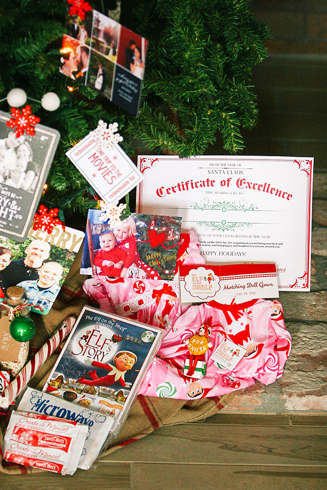 Make sure your Elf on the Shelf brings a Christmas eve bag when he departs!