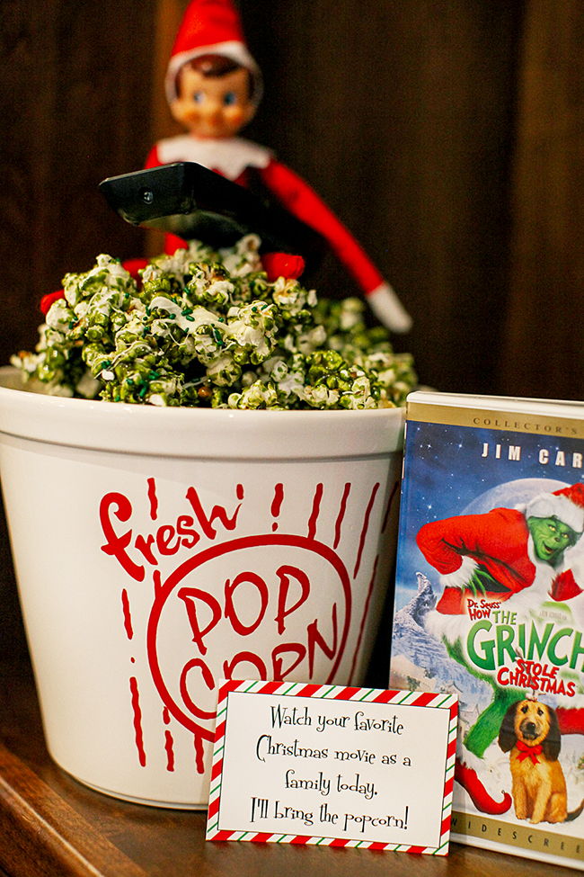 "Enjoy a bowl of ""Grinch Popcorn"" while watching a fun holiday movie. 