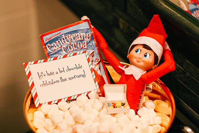 A hot chocolate marshmallow bath is the perfect way for your Elf on the Shelf to relax!