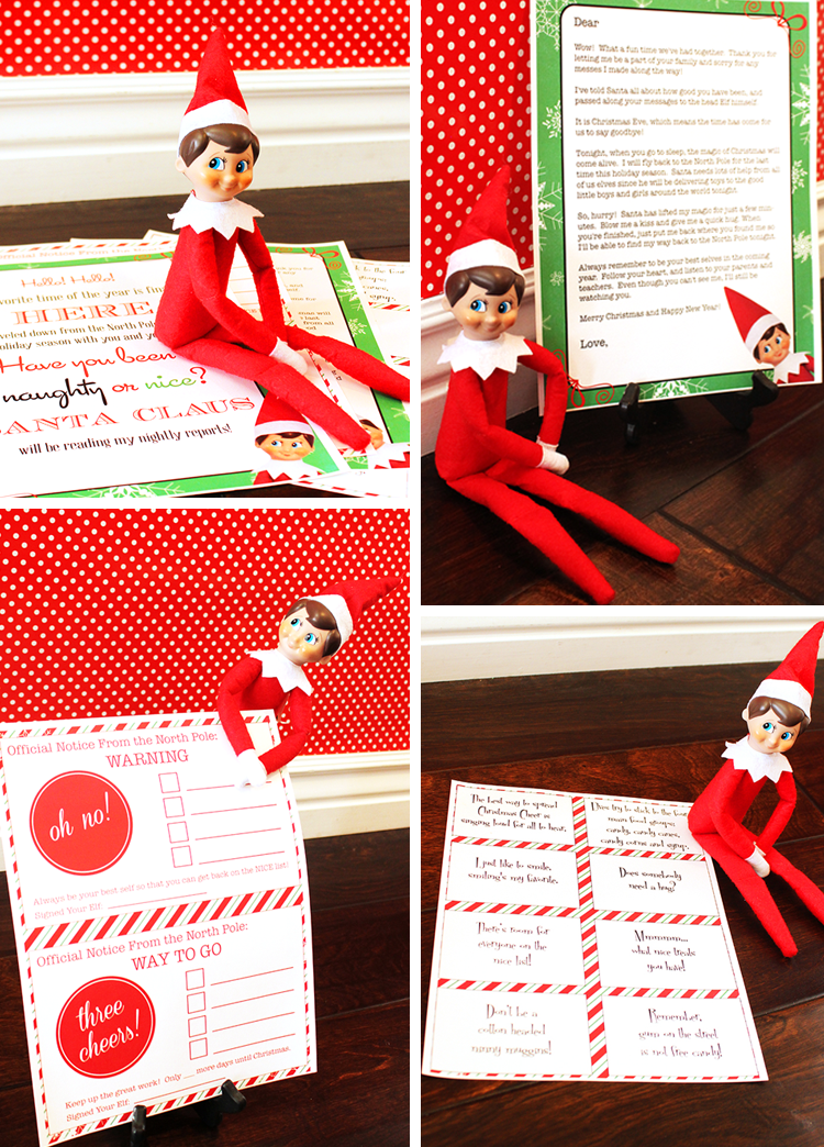 Cute Elf on the Shelf printables with notes from your elf and daily idea cards.