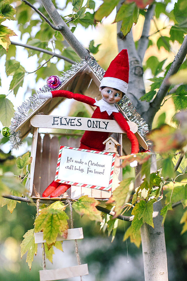 Love this cute tree house for the Elf On The Shelf!