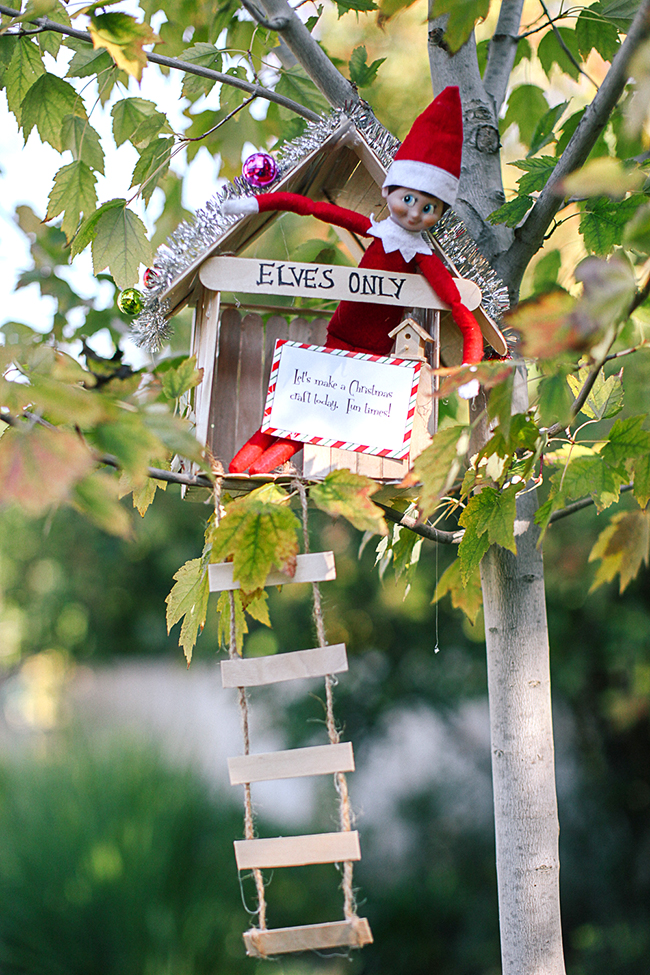 Craft a cute tree house out of Popsicle sticks for your Elf On The Shelf!