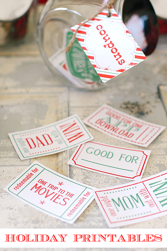 Super cute Christmas printables - from cute Christmas gift coupons and letters from Santa to everything you need to throw a fabulous gift wrapping party.