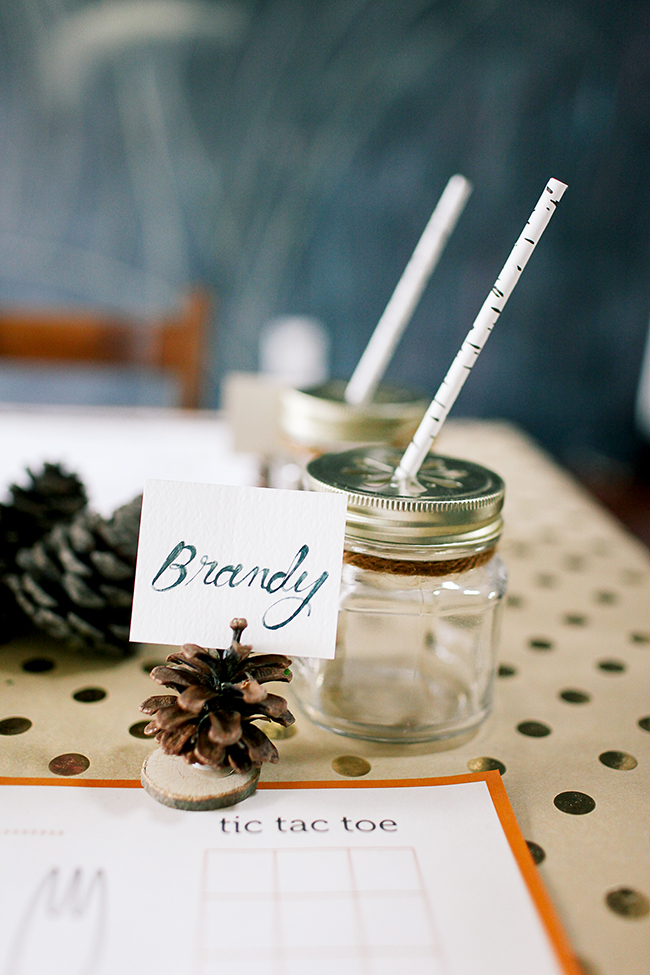 Create cute placecards with pinecones.