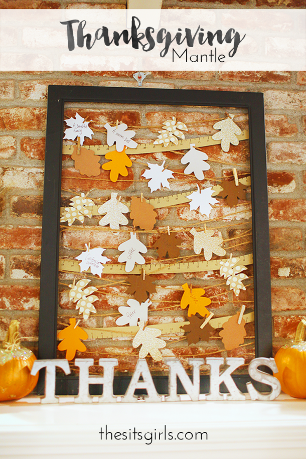 Thanksgiving Decorations | Great ideas to bring a touch of thankfulness to your fall decor for Thanksgiving. Love this gratitude picture frame on the mantle, it is a fun project for the whole family.