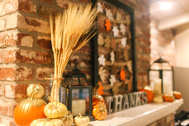 Use natural elements to make a fabulous mantle display for Thanksgiving.
