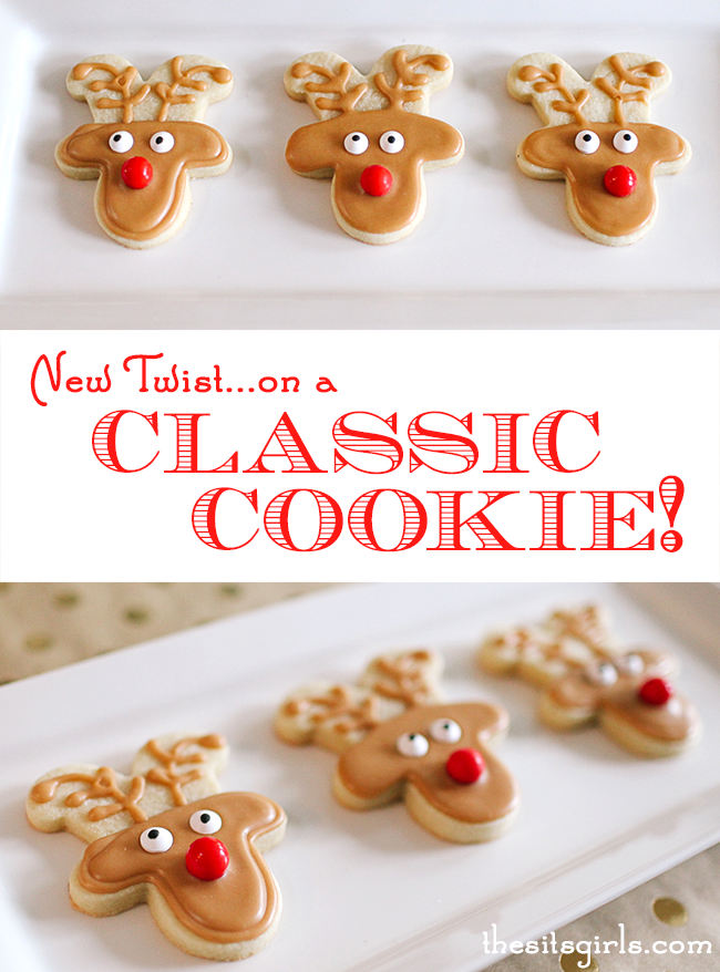 Reindeer Cookies | This cookie decorating tutorial gives a new twist to a classic cookie (and keeps you from having to buy a new cookie cutter)!