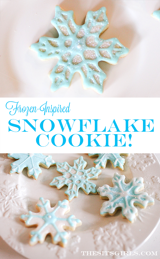 Frozen Cookies | Simple cookie decoration tutorial for snowflake cookies that are perfect for a Frozen birthday party.