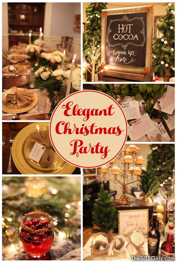 Elegant Christmas Decor | Plan an elegant Christmas party this year with these beautiful ideas for your holiday table, food, and decor. Don't forget the Champagne Cranberry Cocktail!