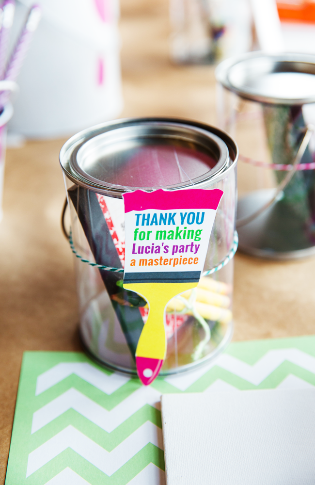 These are the cutest party favors for an art party!