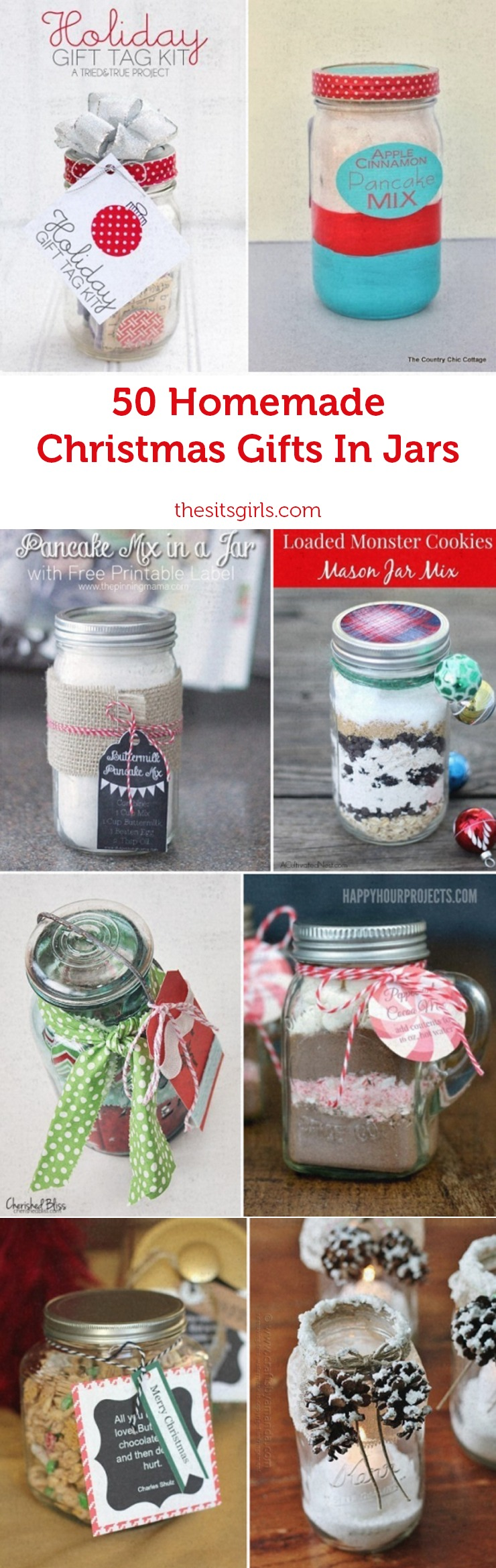 Homemade Christmas Gift Ideas | Cute Christmas gifts in jars for your friends and family.