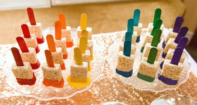 Rice Krispy Treat Paint Pops For Art Party