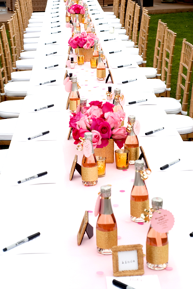 Blush, bright pink, and gold is a classic combo for a baby shower!