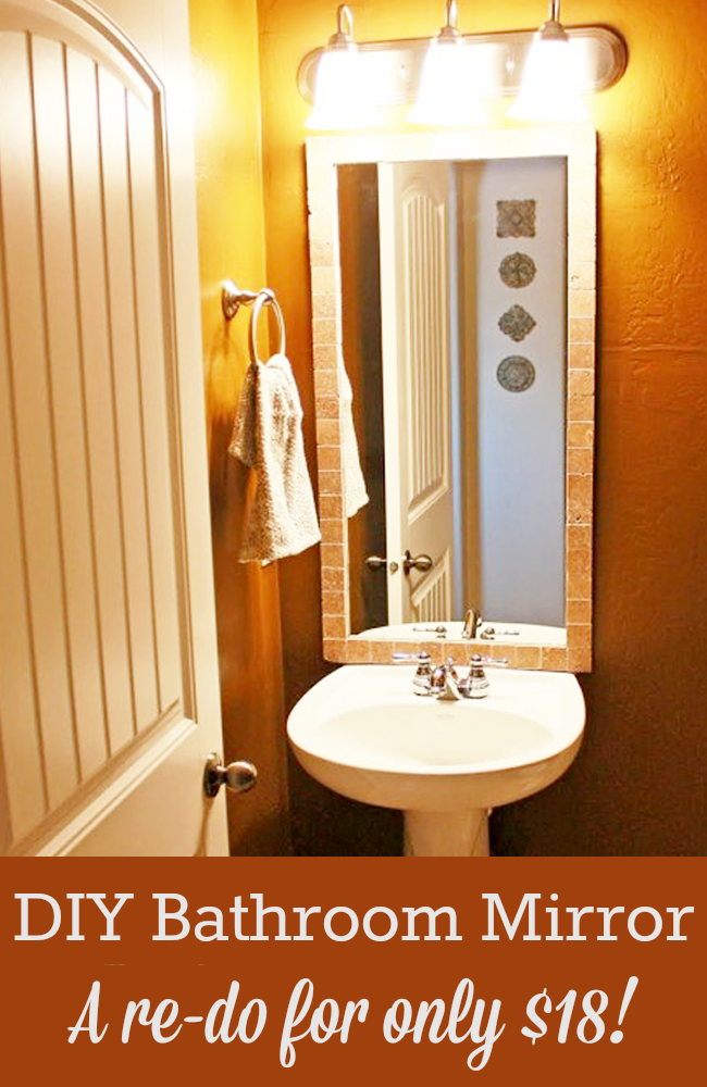 This DIY Bathroom Mirror redo is easy, and it only costs $18!
