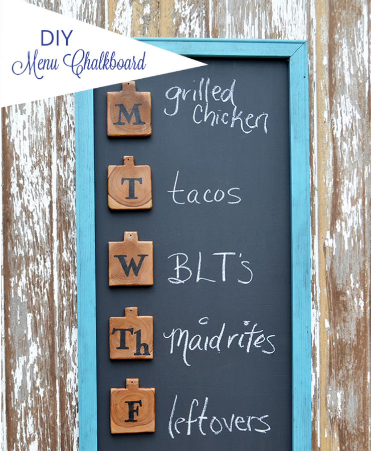 This cute menu board is an easy DIY project to help you get organized for meal planning and add a touch of fun to your home decor. It could also be used for organizing your weekly schedule or family appointments.