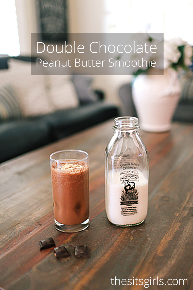 Double Chocolate Peanut Butter Smoothie Recipe | This smoothie is packed with protein and it makes a delicious breakfast or snack!