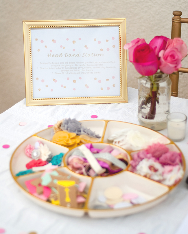 DIY headband station at a baby shower!