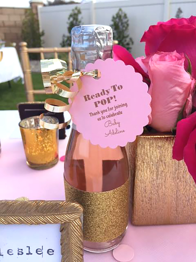 Ready To Pop labels for champagne bottles | Baby shower decor