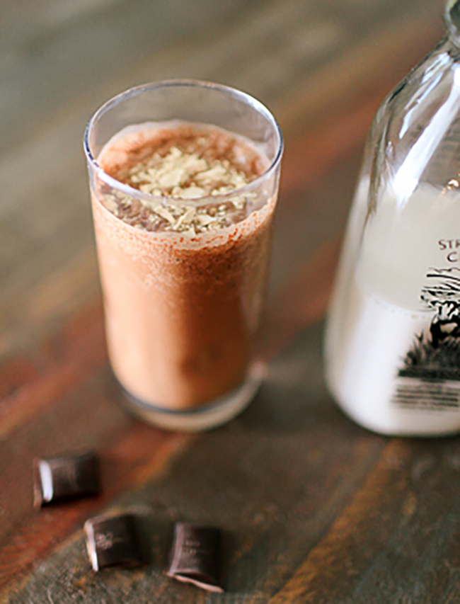 A chocolate peanut butter smoothie is the best way to start the day!