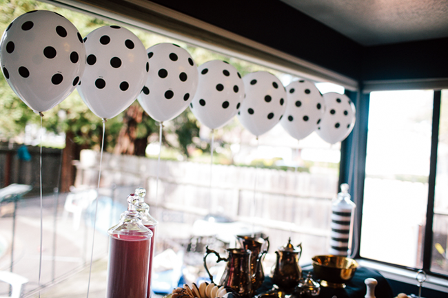 graphic black and white balloons were the perfect backdrop!