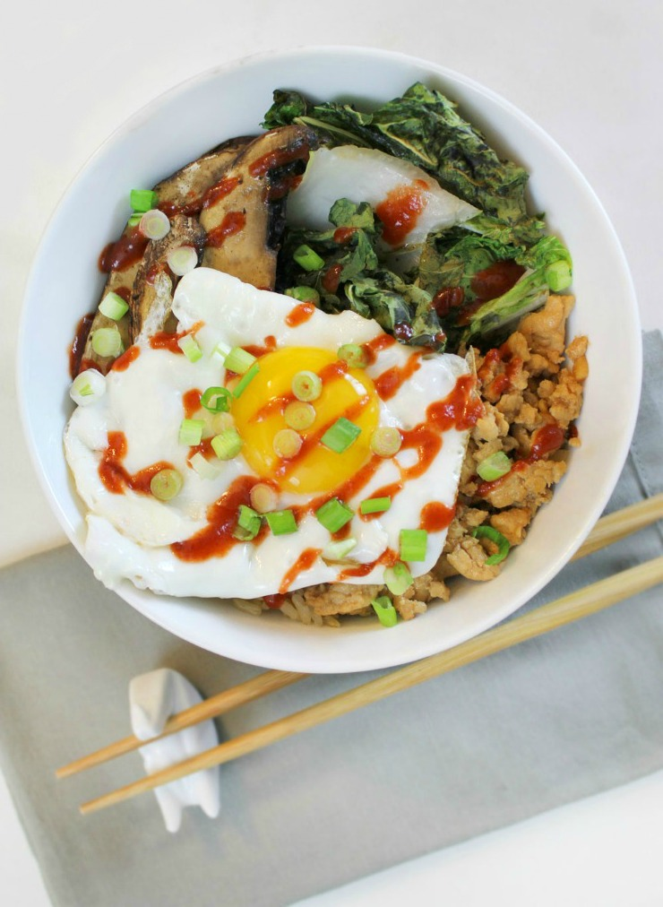 Chicken, Bok Choy & Mushroom Rice Bowl | This recipe is easy to customize with whatever ingredients you have in your house. Plus it has great tips for roasting bok choy.