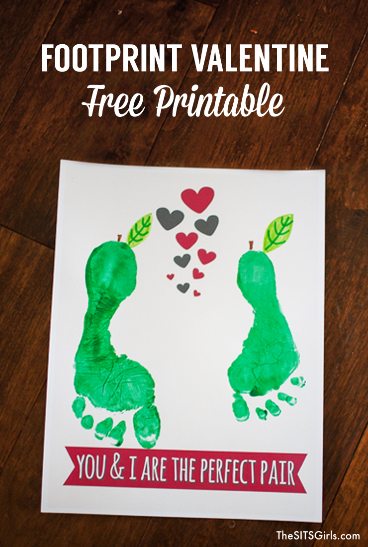 Footprint Valentines are a super cute project to make with your kids for Valentine's Day. Free printables!