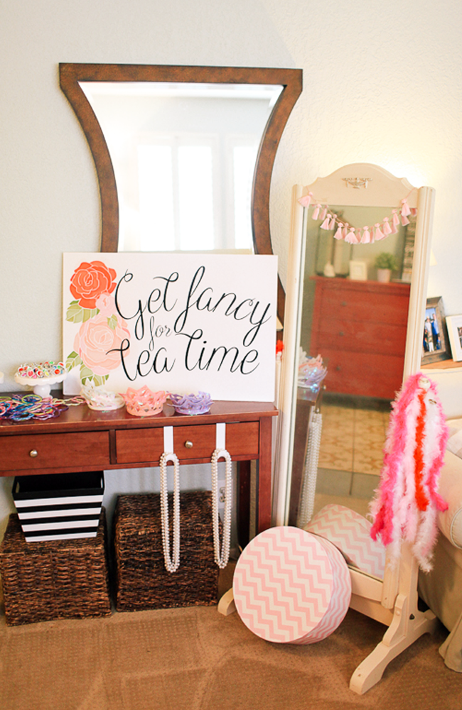 A dress up station is perfect for a little girl's tea party.